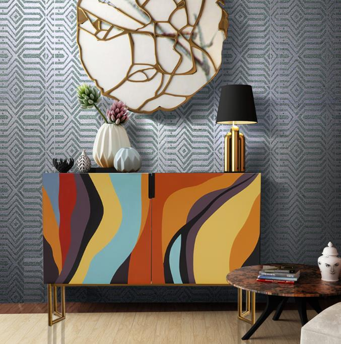 American style porch cabinet light luxury wood hand-painted shoe cabinet Rainbow Cabinet Modern Side Table
