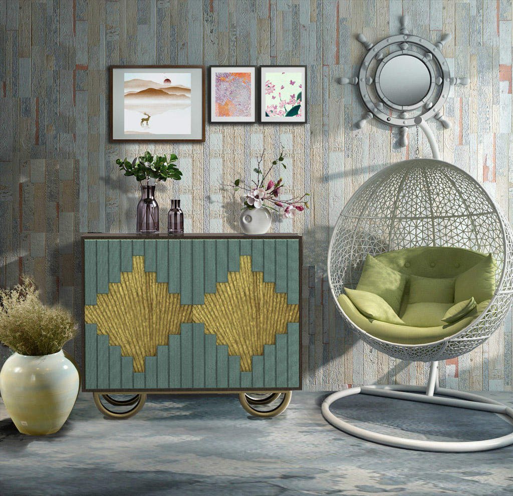 The tea porch cabinet is placed in the kitchen side cabinet of the painted American style Ginkgo biloba