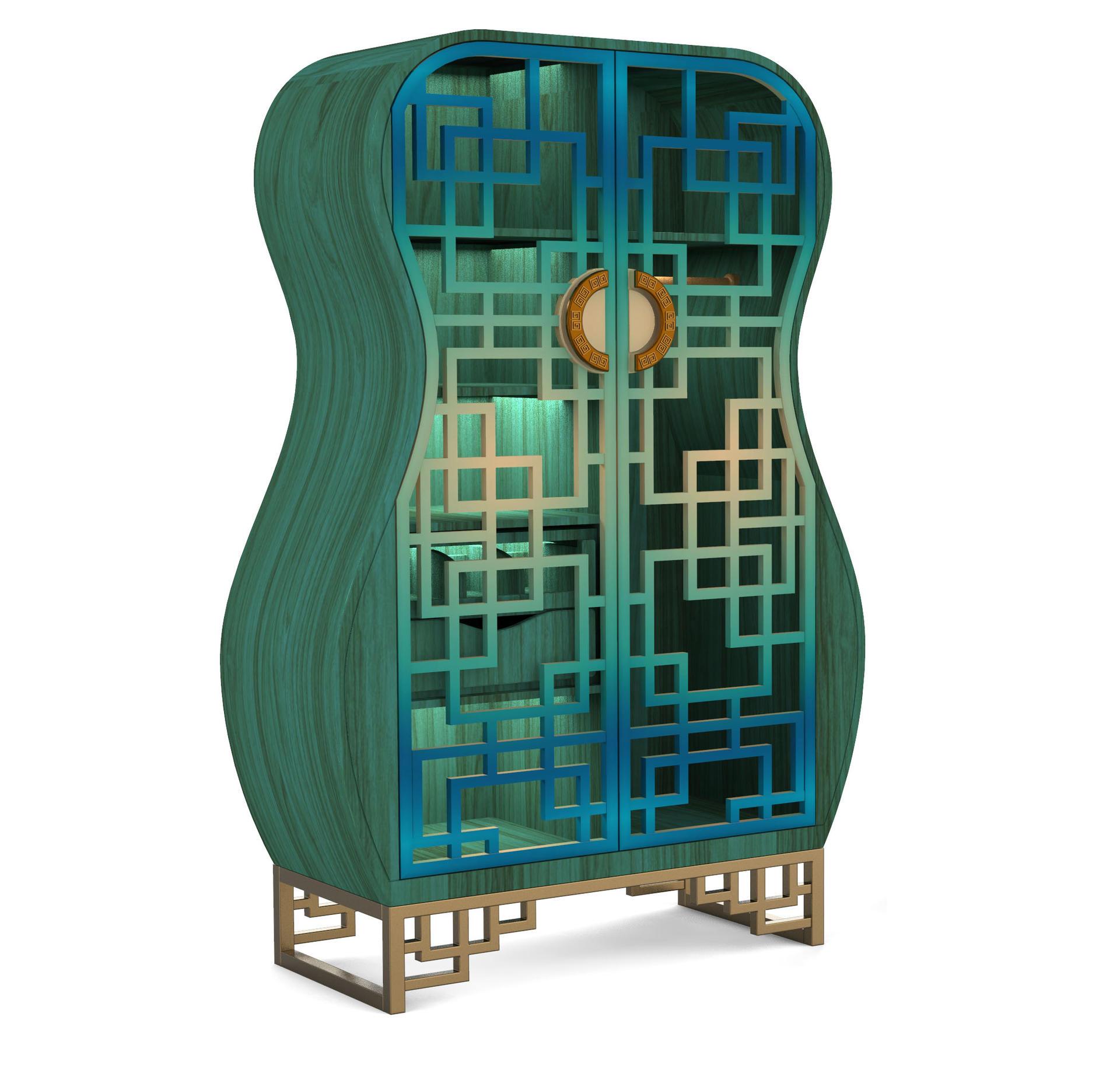 Solid wood hardware wardrobe