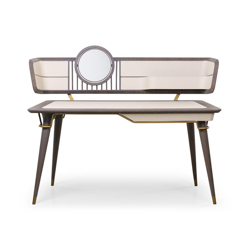 Italian minimalist dressing table modern and simple all solid wood with mirror dressing table HS-ZT-9907