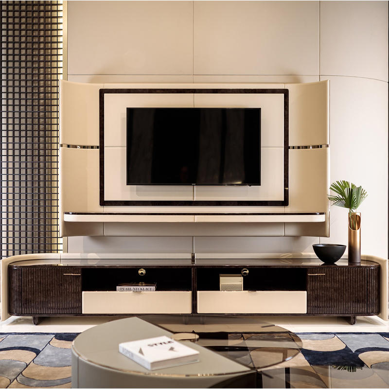 Custom high-end TV cabinet for light luxury furniture HS-DG-8201