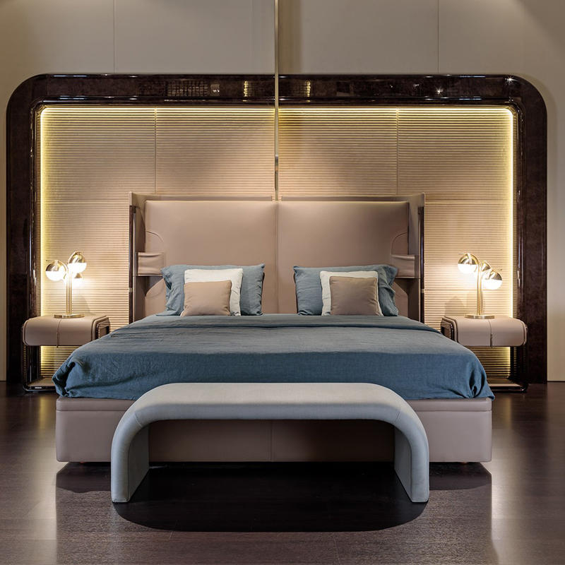 Italian light luxury leather bed HS-BQ-9903