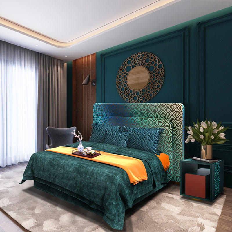 Neoclassical fabric master bedroom double bed HS-2001