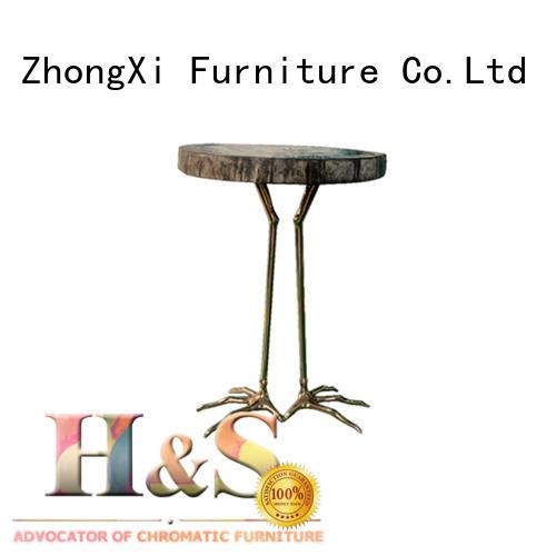 custom metal and wood side table space indoor HS
