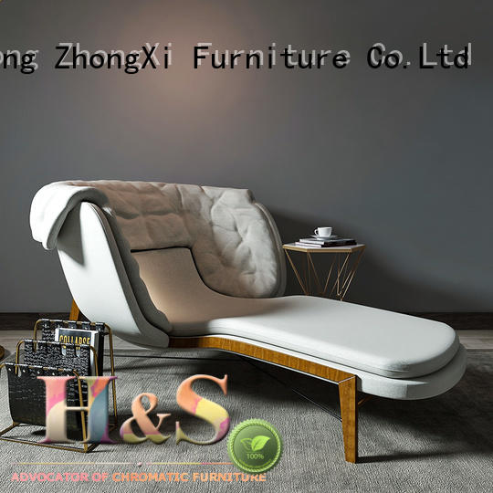 HS comfortable tan chaise lounge chair space in living room
