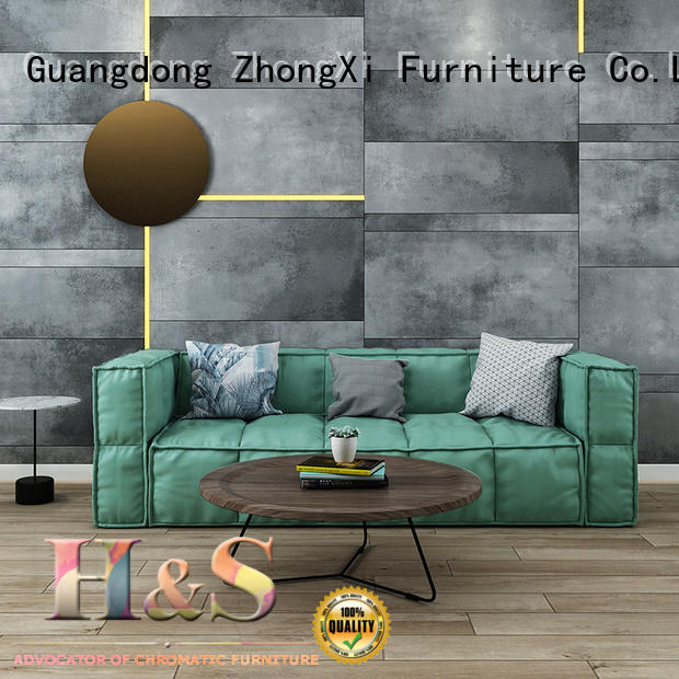 HS accent leather sectional sofa space dining room